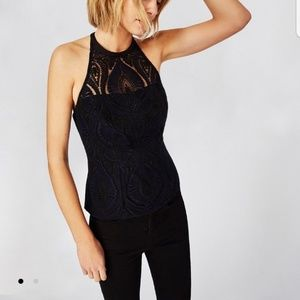 Embroidered Tulle Halter Top